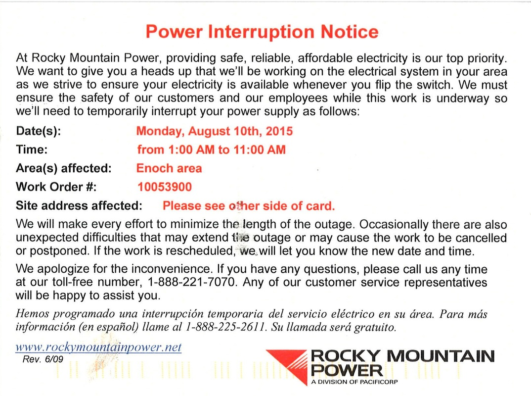 Scheduled Power Outage Enoch City Utah